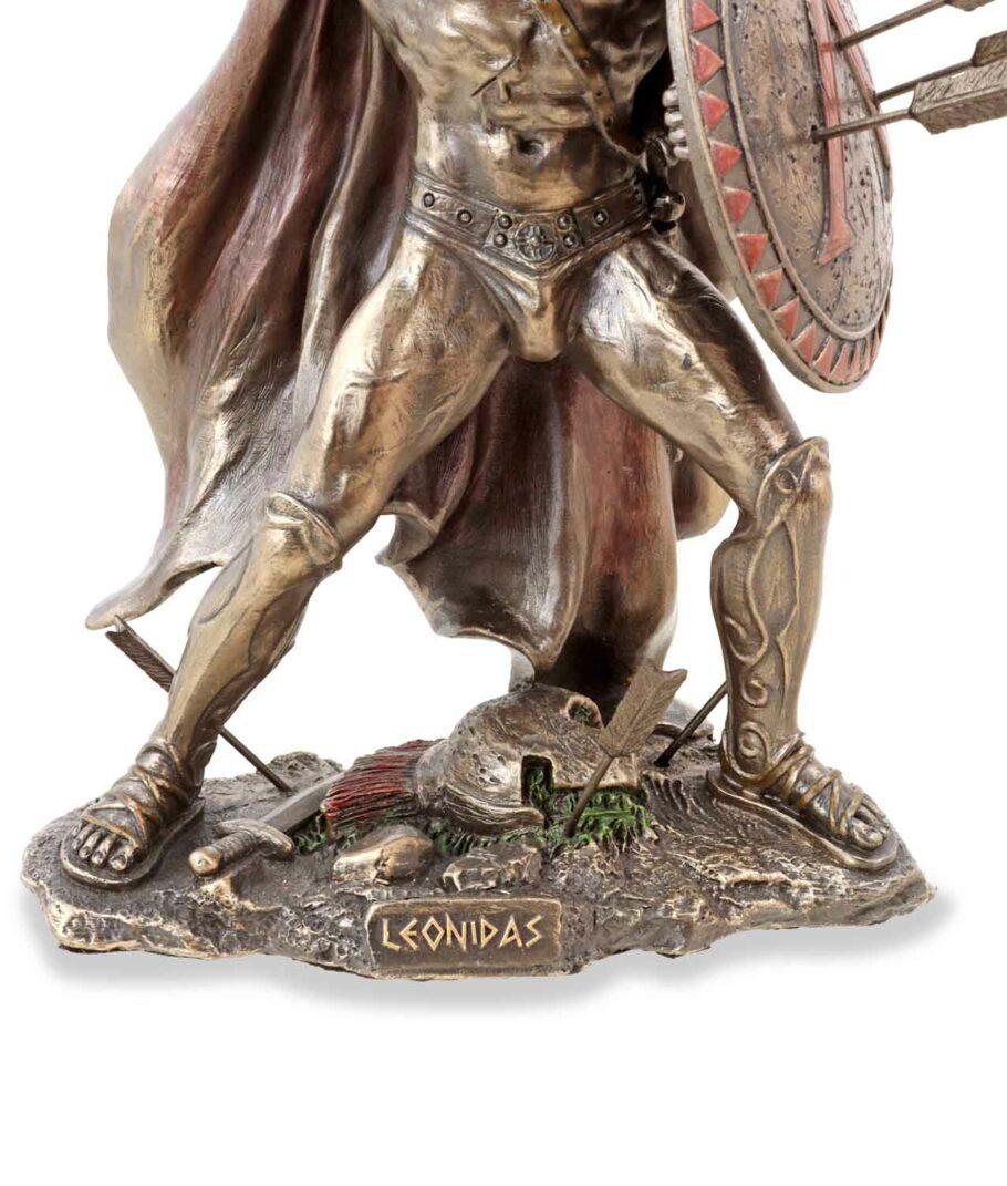 Leonidas hält Schild und Speer bronziert Sockel
