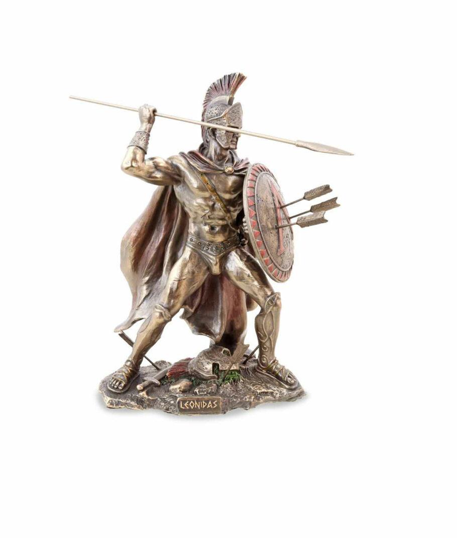 Leonidas hält Schild und Speer bronziert frontal