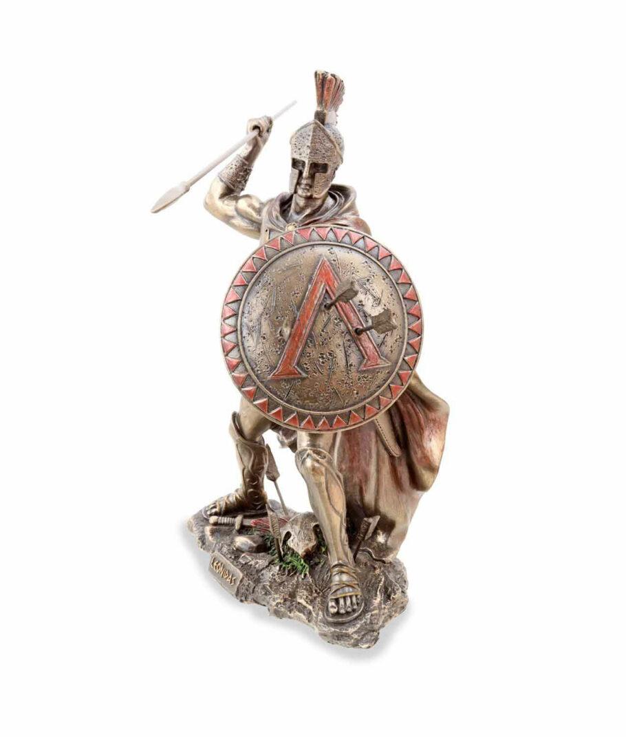Leonidas hält Schild und Speer bronziert linke Seite