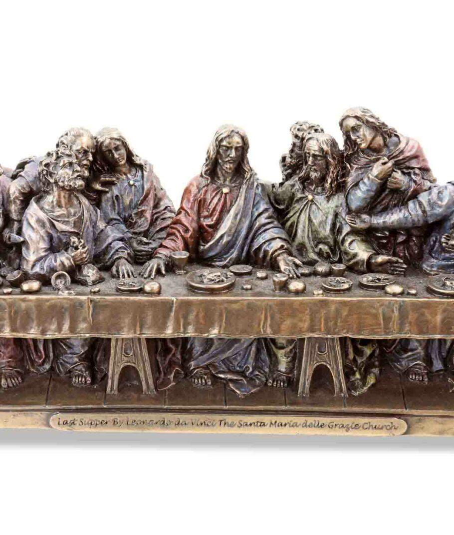 Das letzte Abendmahl von Leonardo DaVinci bronziert Jesus