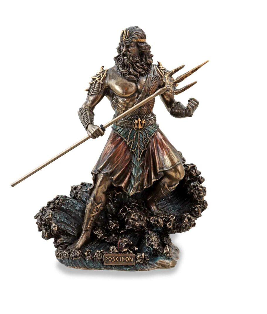 Meeresgott Poseidon mit Dreizack bronziert
