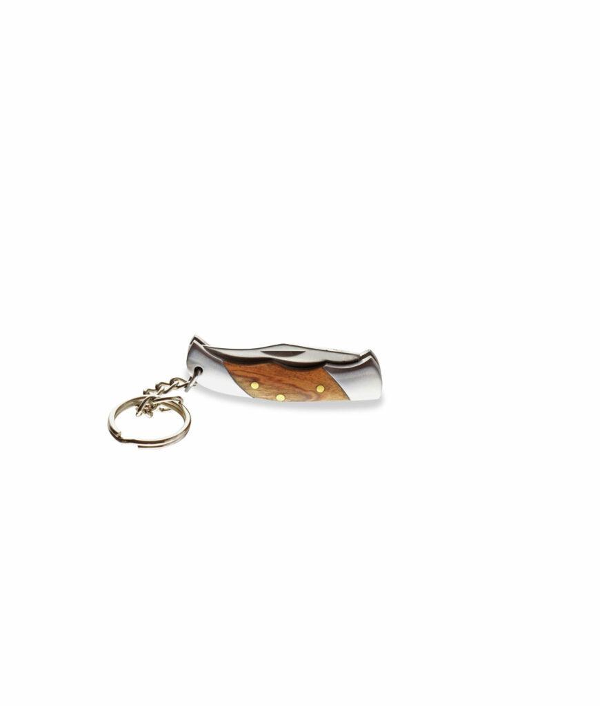 Mini-Taschenmesser mit Olivenholzgriff und Schlüsselring geschlossen