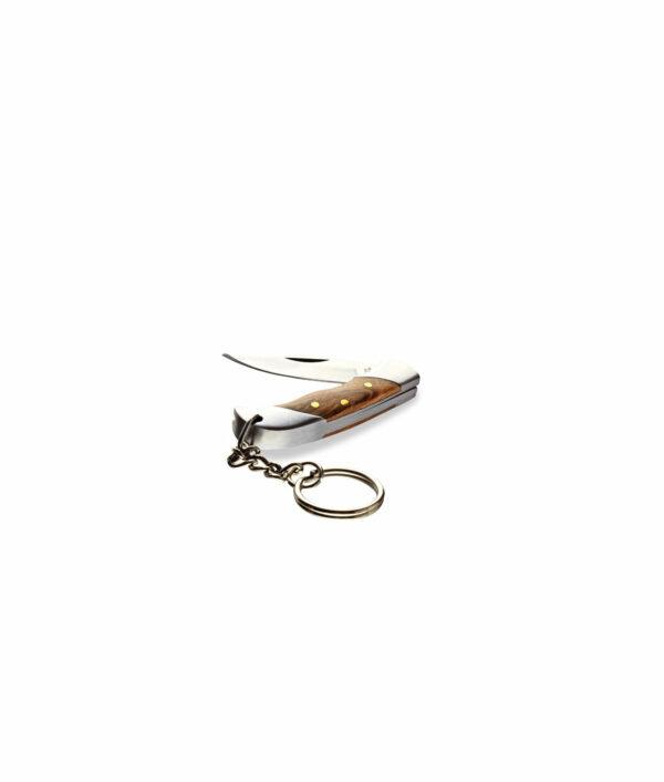 Mini-Taschenmesser mit Olivenholzgriff und Schlüsselring