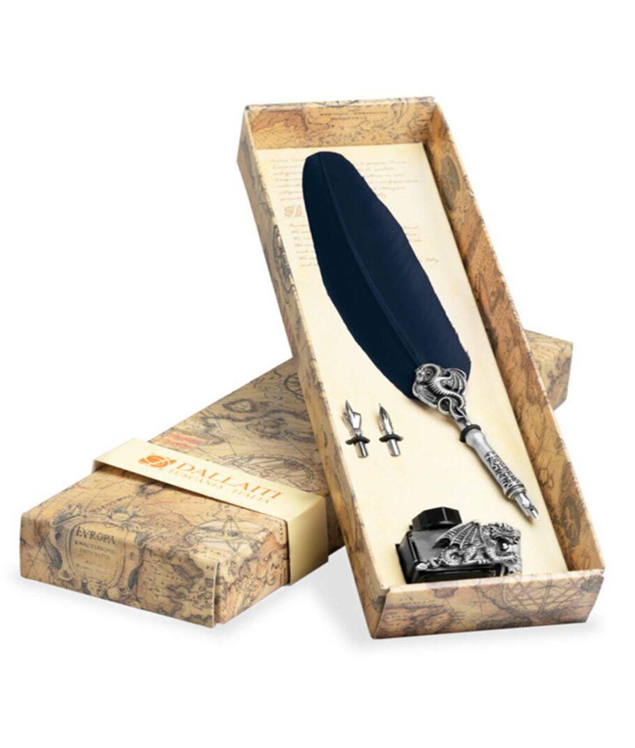 Kalligraphie-Set mit blauer SChreibfeder und Drachen-Tintenfass