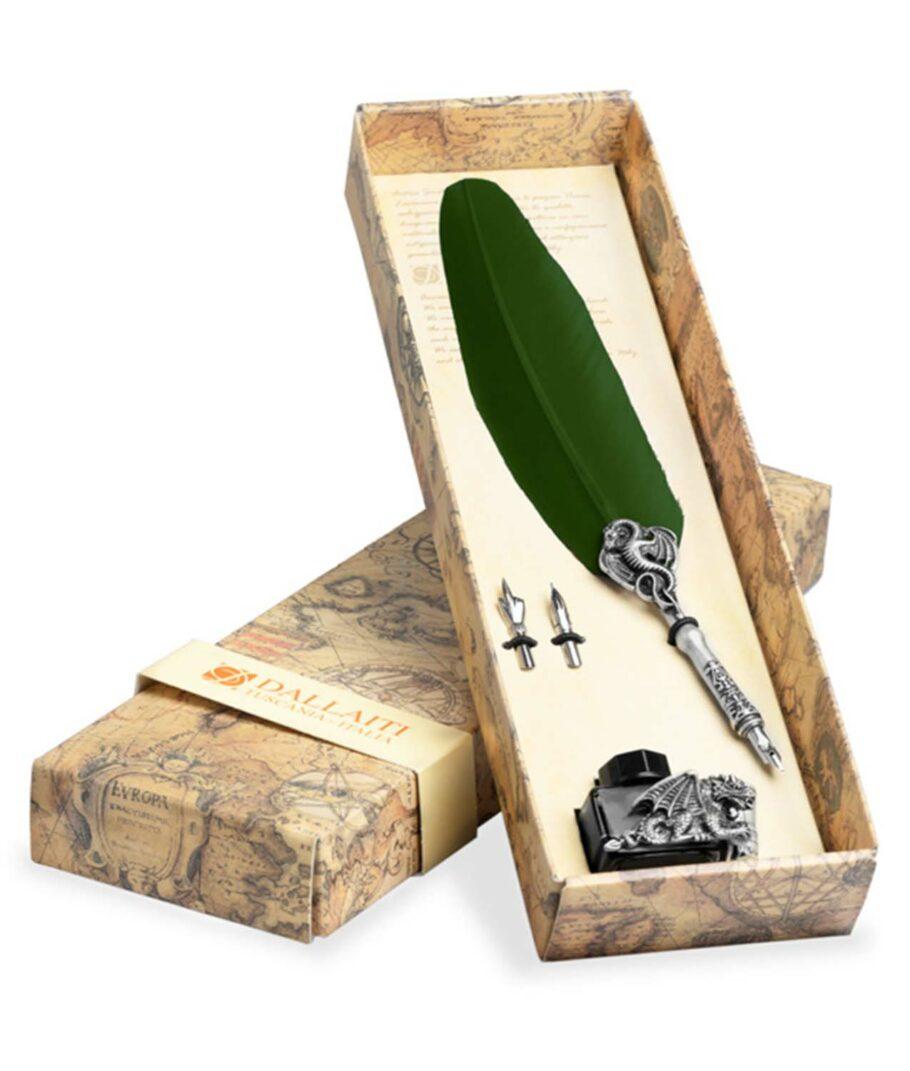 Kalligraphie-Set mit grüner Schreibfeder und Drachen-Tintenfass