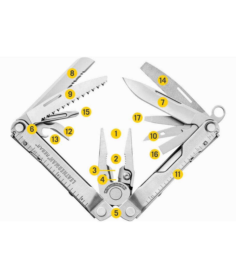Das Lestherman REBAR Multitool zeigt seine 17 Werkzeuge