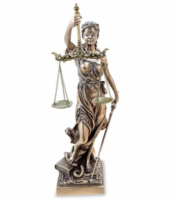 Römische Justitia mit Waage und Schwert bronziert