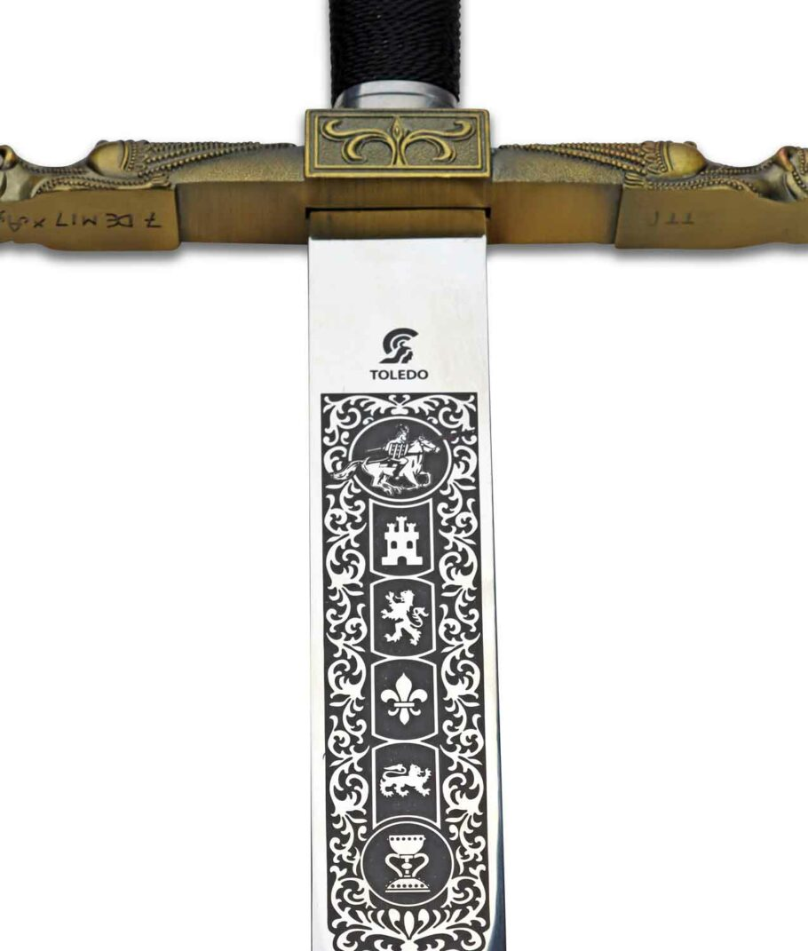 DIe schöne Ziselierung auf der Klinge von Karl des Großens Schwert