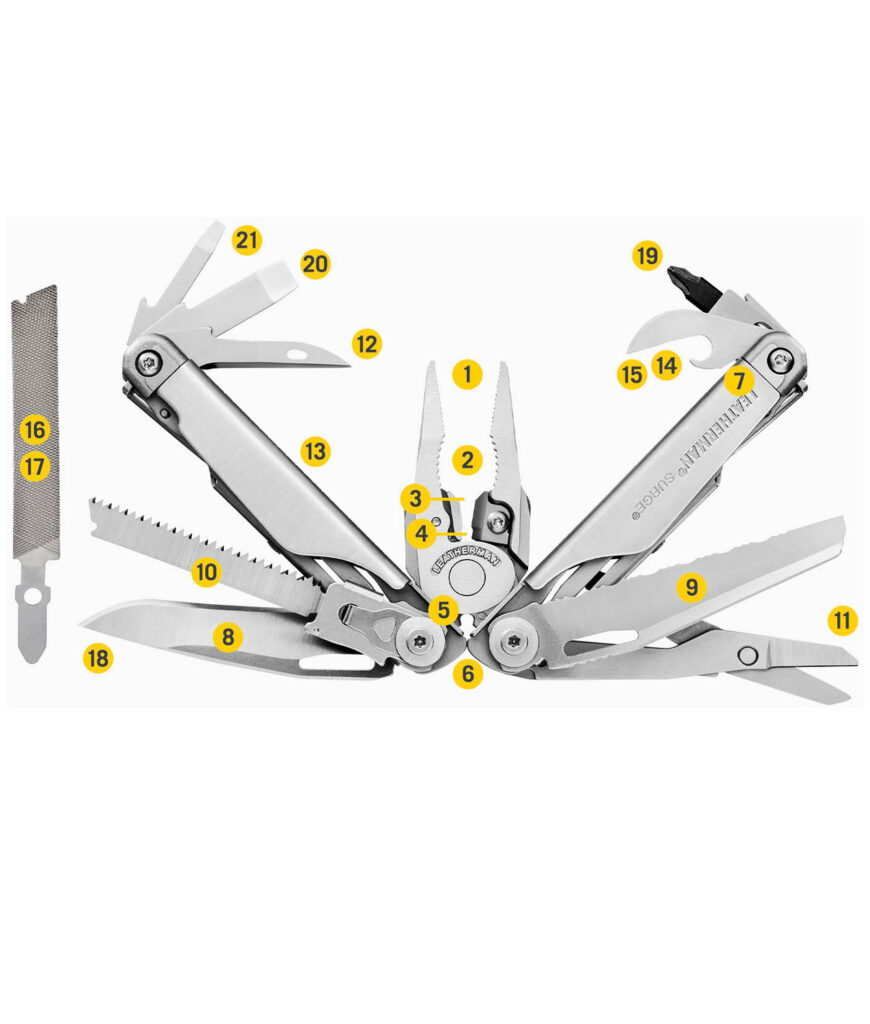 Die 21 Tools des Leatherman SURGE Multitool
