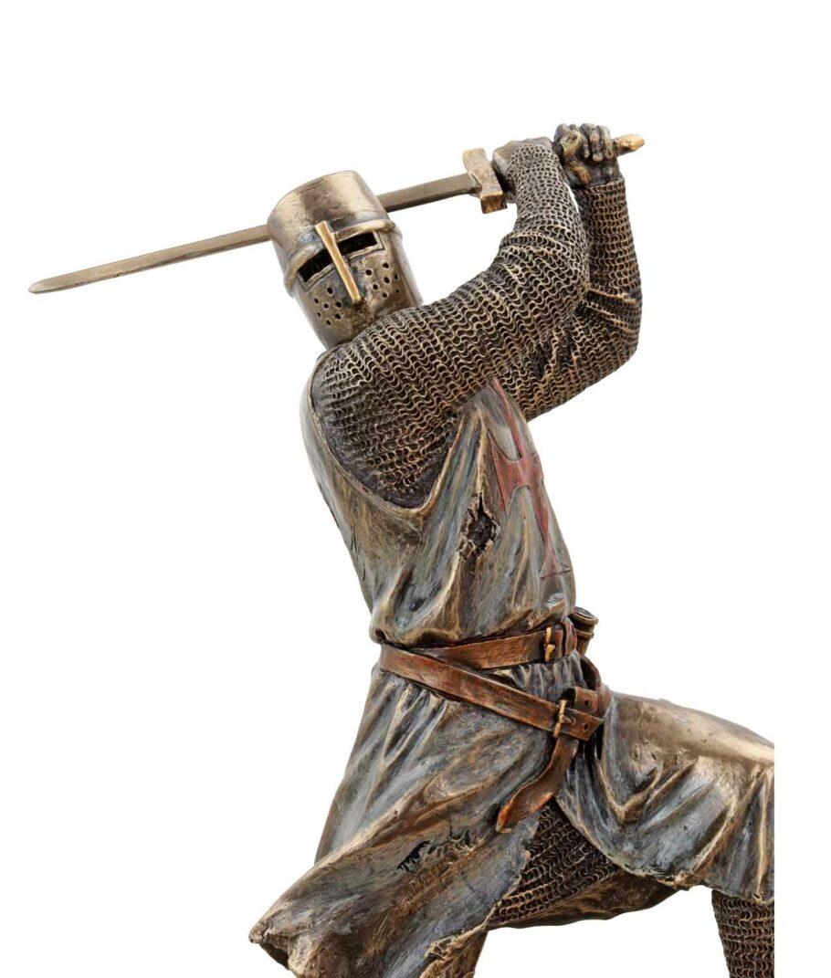 Tempelritter im Kampf mit Bidenhänder bronziert Gesicht