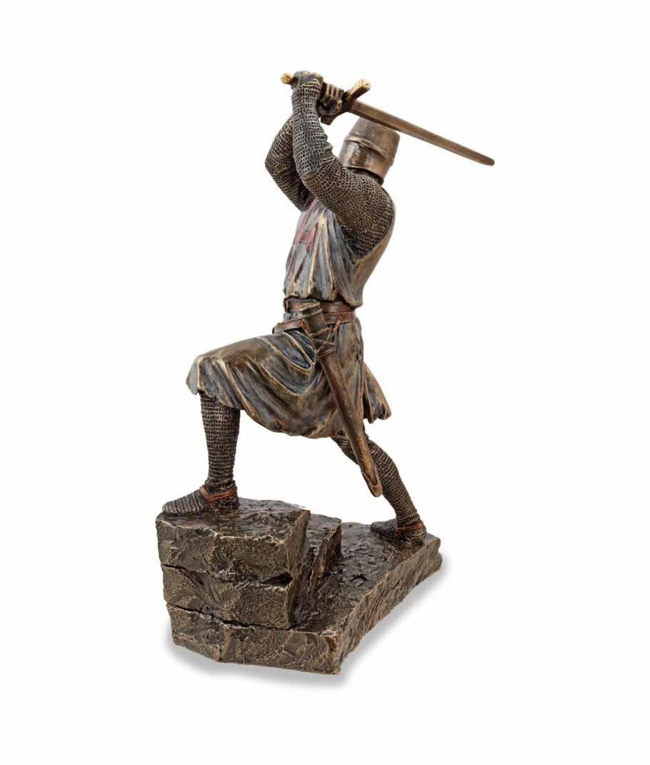 Tempelritter im Kampf mit Bidenhänder bronziert linke Seite