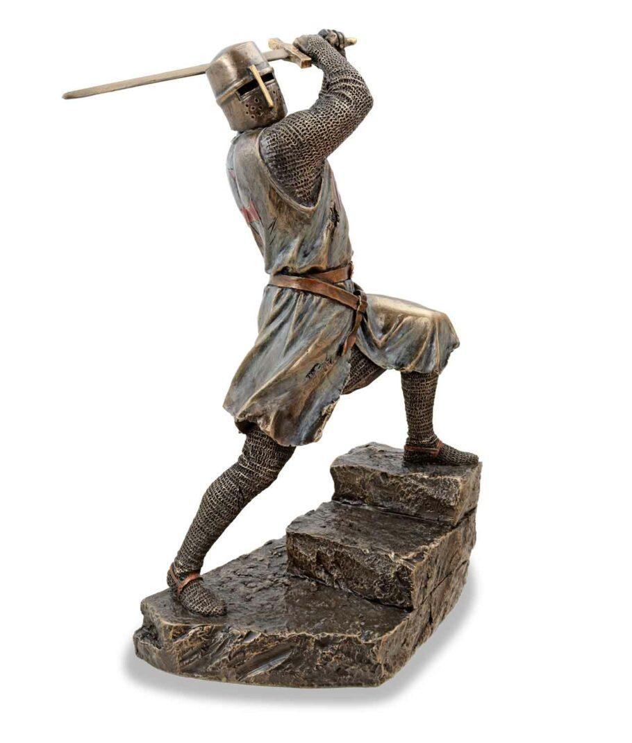 Tempelritter im Kampf mit Bidenhänder bronziert rechte Seite
