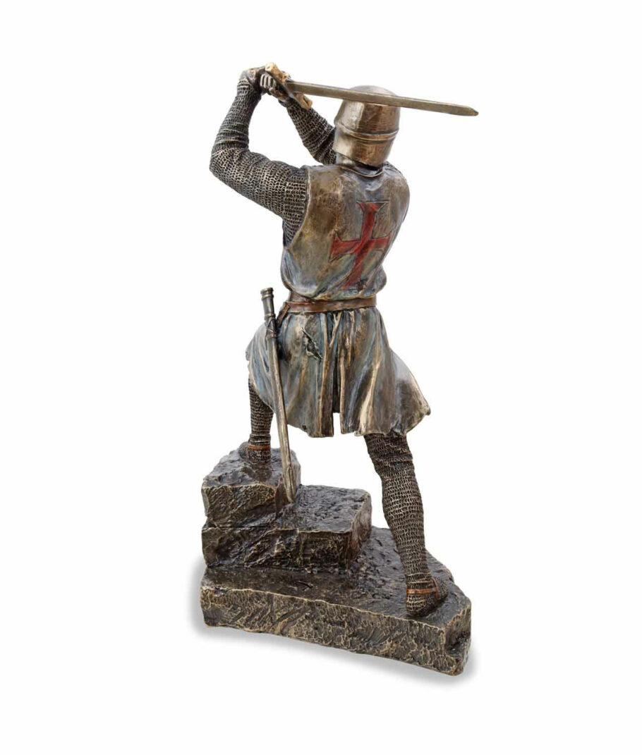 Tempelritter im Kampf mit Bidenhänder bronziert Rückseite