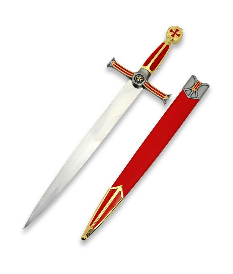Templerdolch der Großmeister mit roter Scheide