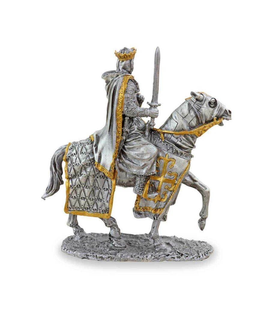 Zinnkönig auf Pferd mit Schwert Rückansicht
