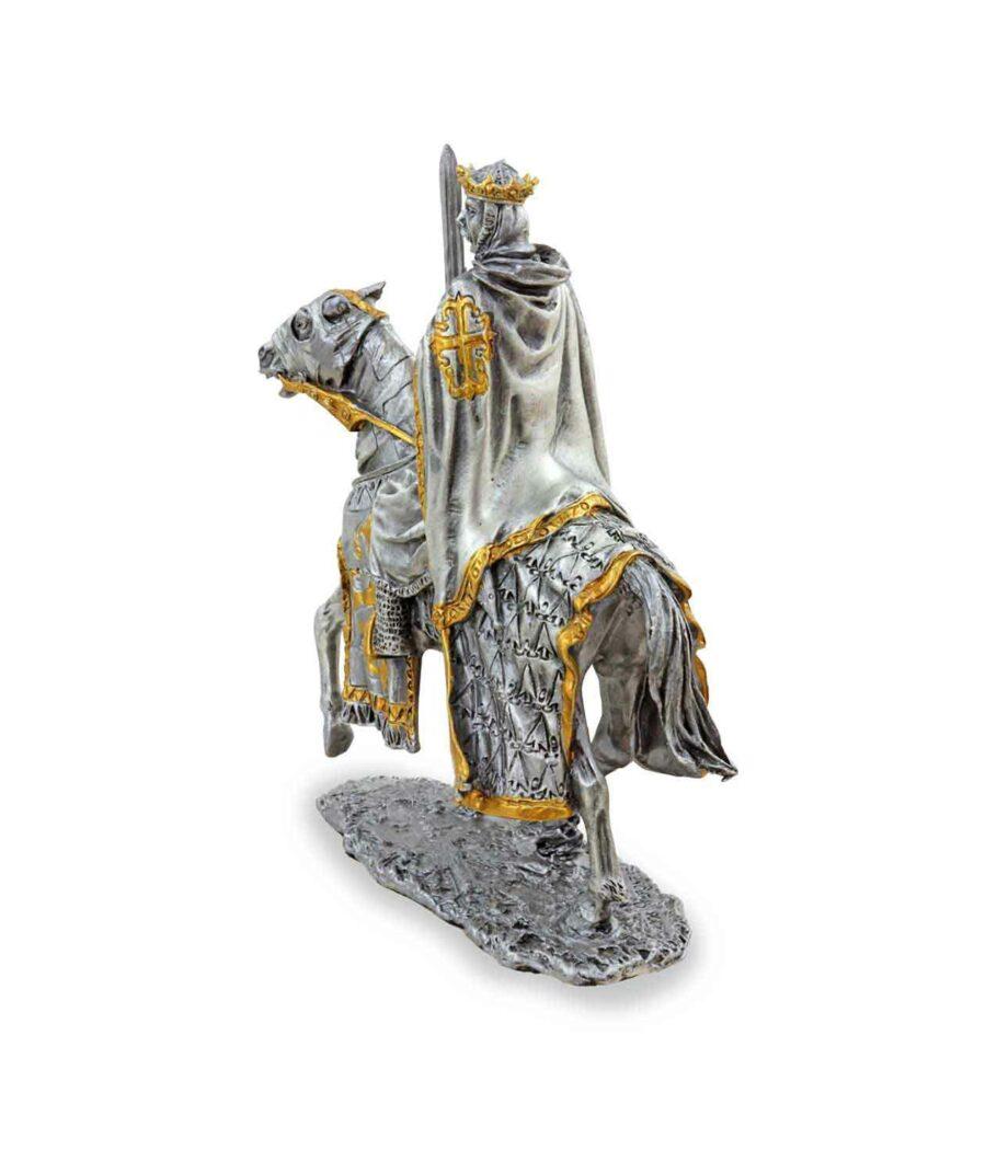 Zinnkönig auf Pferd mit Schwert linke Seite