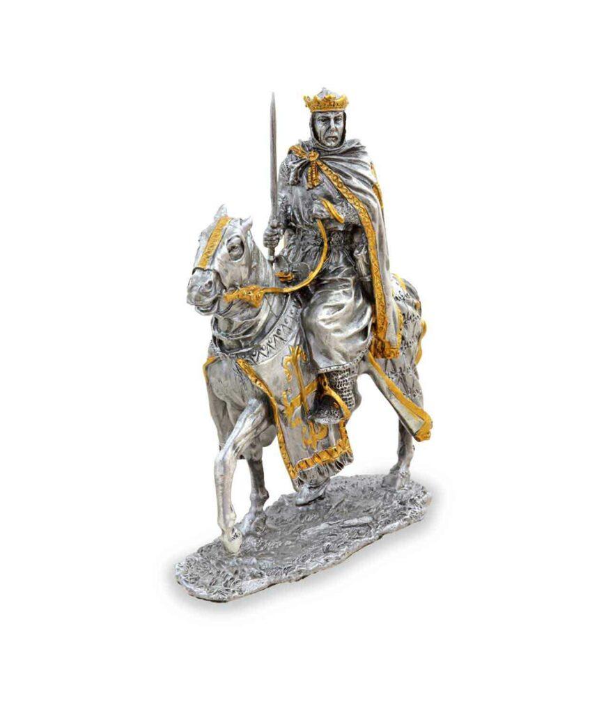 Zinnkönig auf Pferd mit Schwert rechte Seite