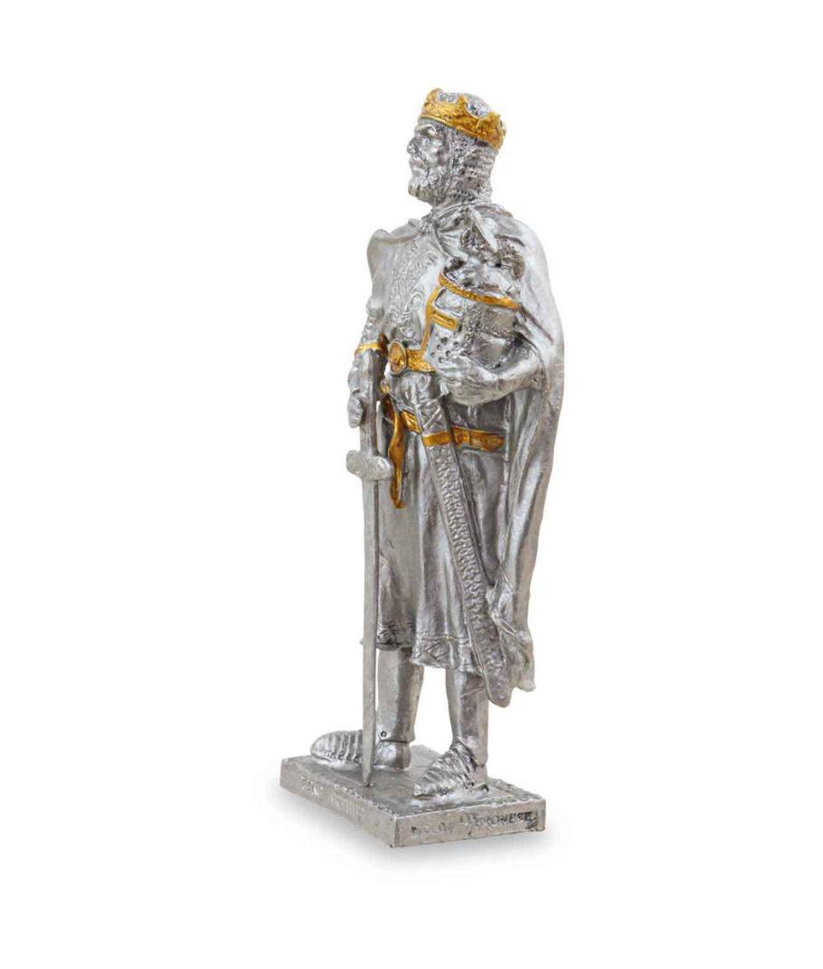 Zinnritter - König Arthur mit Krone von der linken Seite