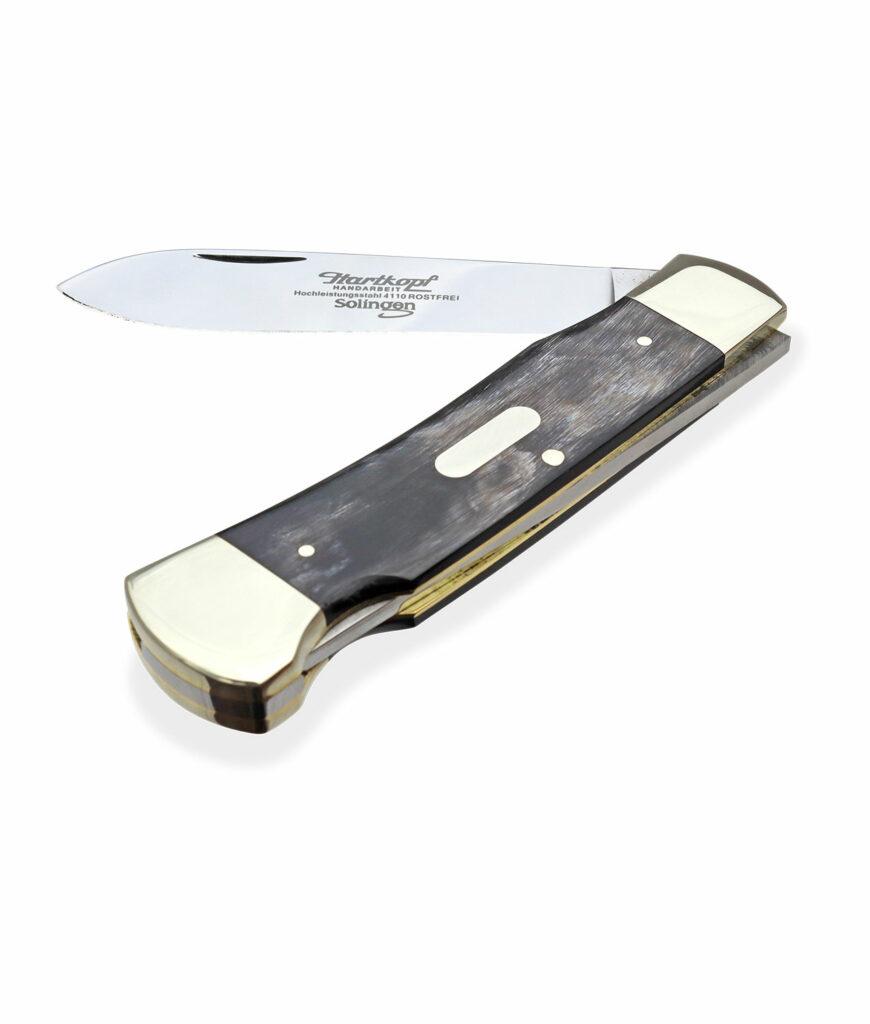 Hartkopf Taschenmesser in Bunthorn halbgeöffnet