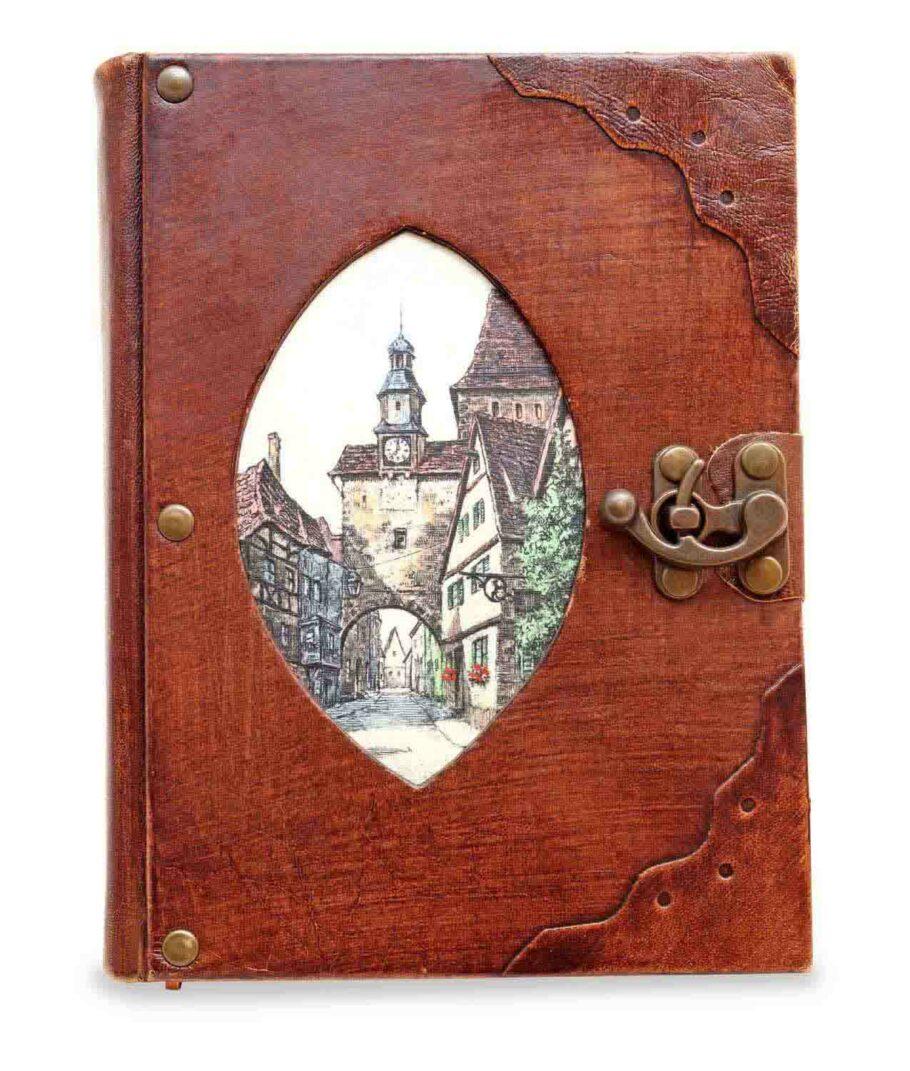 Großes Notiz- und Tagebuch aus Leder mit Markusturm Rothenburg