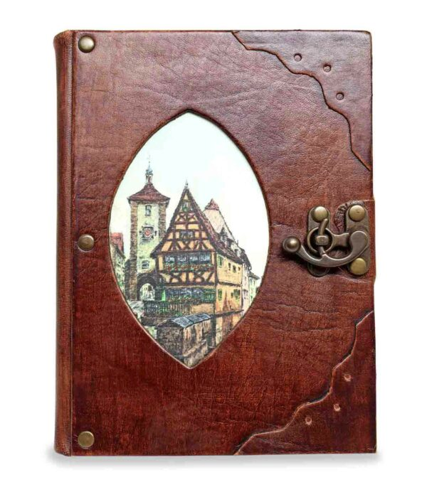 Großes Notiz- und Tagebuch aus Leder mit Plönlein Rothenburg