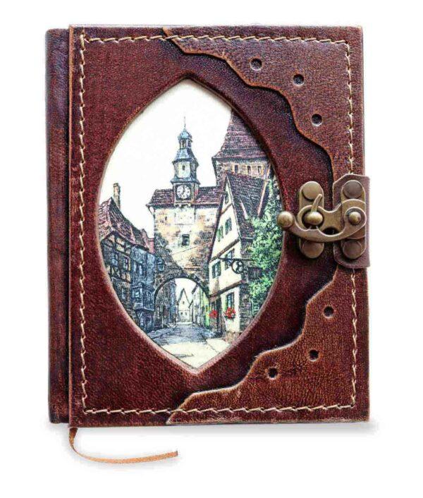 Kleines Lederbuch, Notizbuch und Tagebuch mit Markustrum Rothenburg