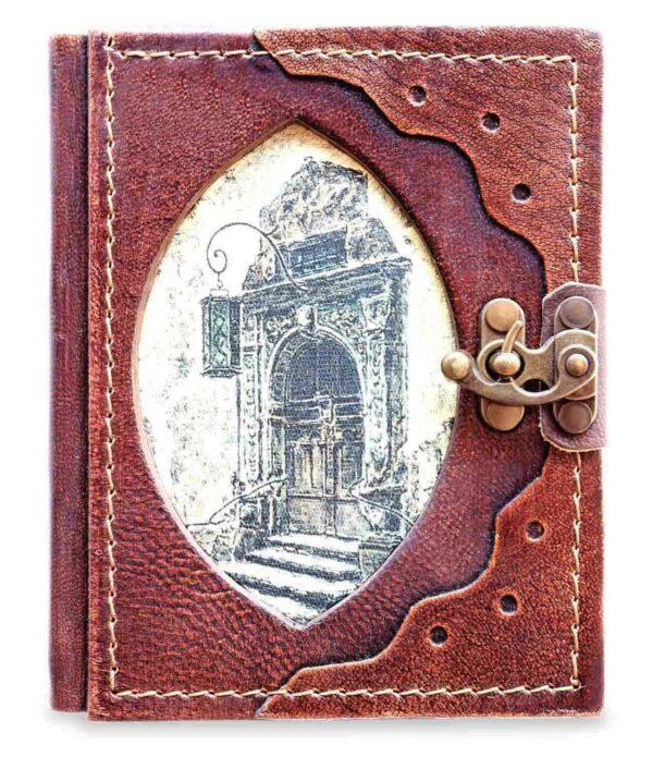 Handgemachtes Lederbuch mit Portal Rothenburg