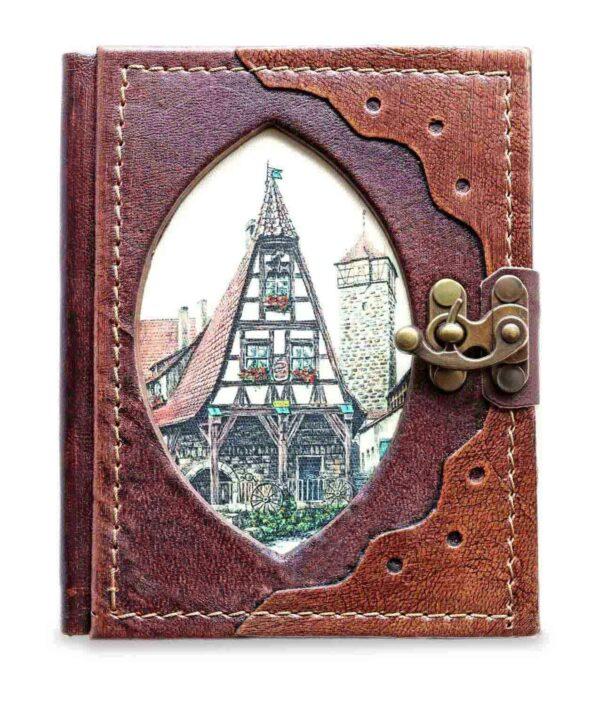 Kleines Lederbuch, Notizbuch und Tagebuch mit Alter Schmiede Rothenburg
