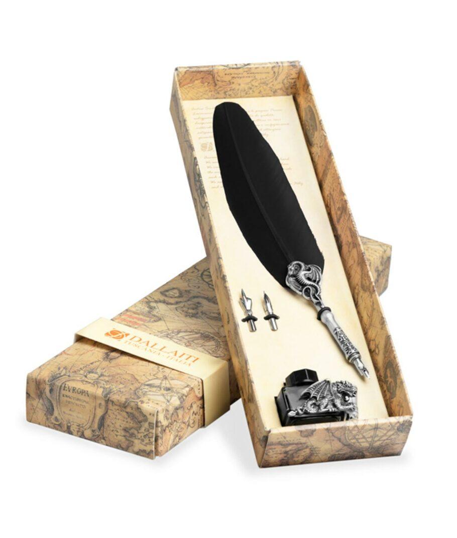 Kalligraphie-Set Drache mit schwarzer Schreibfeder