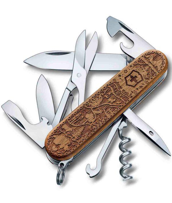 Victorinox Climber Wood Swiss Spirit limited Edition 2021 mit geöffneten Werkzeugen.