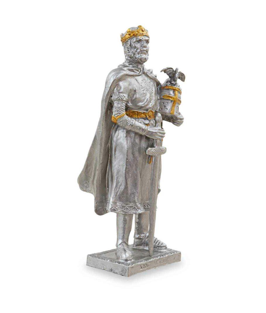 Zinnritter - König Arthur mit Krone von der rechten Seite