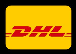 DHL Logo mit roter Schrift auf gelben Grund.