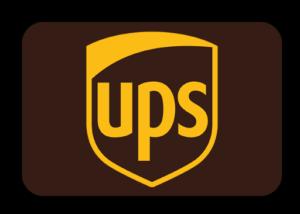 UPS Logo mit gelber Schrift auf braunem Untergrund.